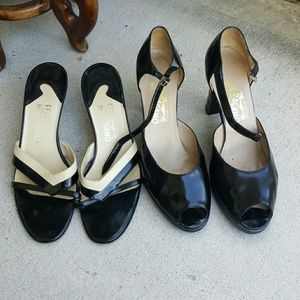 Women's Ferragamo peep toe shoes lot 2 pairs sz 10